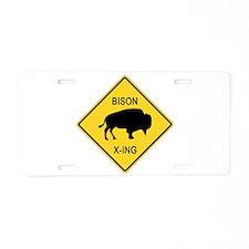 Bison Crossing Sign Aluminum License Plate