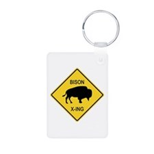 Bison Crossing Sign Aluminum Photo Keychain