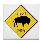 Bison Crossing Sign Tile Coaster