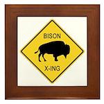 Bison Crossing Sign Framed Tile