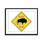 Bison Crossing Sign Framed Panel Print