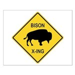 Bison Crossing Sign Small Poster