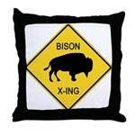 Bison Crossing Sign Throw Pillow