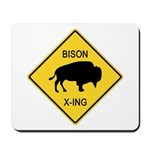 Bison Crossing Sign Mousepad
