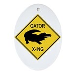 Alligator Crossing Sign Ornament (Oval)