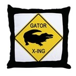 Alligator Crossing Sign Throw Pillow