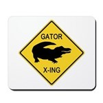 Alligator Crossing Sign Mousepad