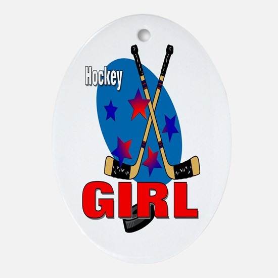 Hockey Girl Oval Ornament