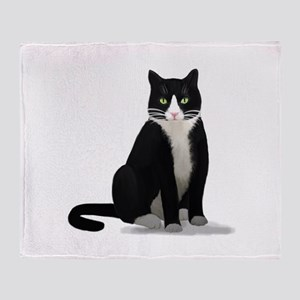 Black and White Tuxedo Cat Throw Blanket