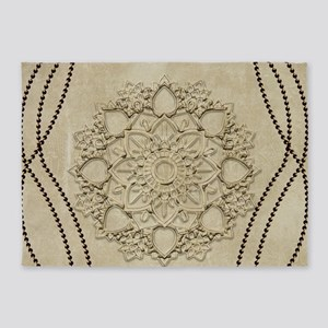 Beautiful mandal with pearls 5'x7'Area Rug