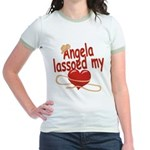 Angela Lassoed My Heart Jr. Ringer T-Shirt