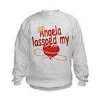 Angela Lassoed My Heart Kids Sweatshirt