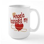Angela Lassoed My Heart Large Mug
