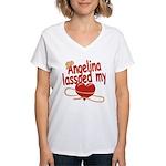 Angelina Lassoed My Heart Women's V-Neck T-Shirt