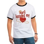 April Lassoed My Heart Ringer T