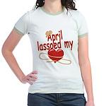 April Lassoed My Heart Jr. Ringer T-Shirt