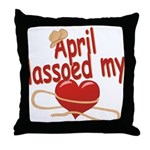 April Lassoed My Heart Throw Pillow