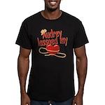 Audrey Lassoed My Heart Men's Fitted T-Shirt (dark