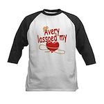 Avery Lassoed My Heart Kids Baseball Jersey
