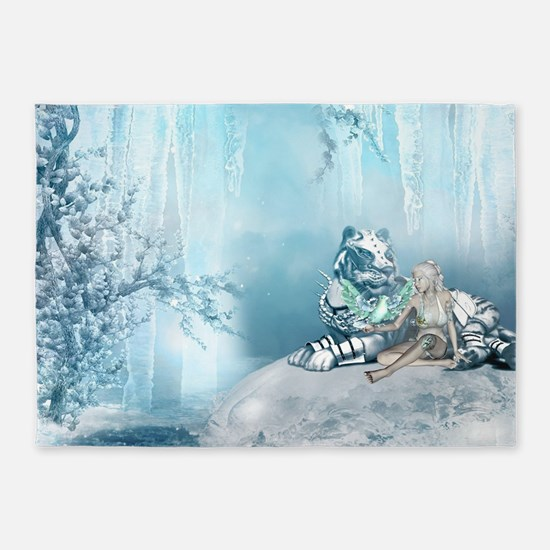 Wonderful snow tiger with fairy and bird 5'x7'Area
