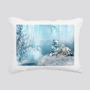 Wonderful snow tiger with fairy and bird Rectangul