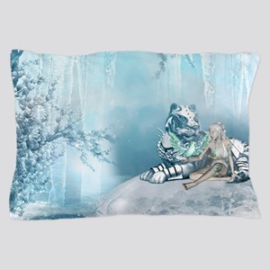 Wonderful snow tiger with fairy and bird Pillow Ca