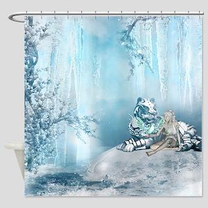 Beauty Beast Shower Curtain 4995 6499 Wonderful Snow Tiger With Fairy And Bird Cu