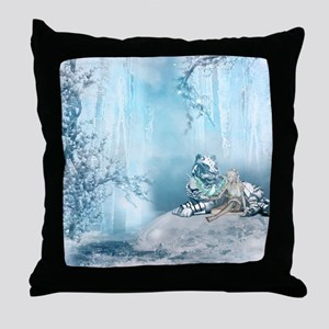 Wonderful snow tiger with fairy and bird Throw Pil