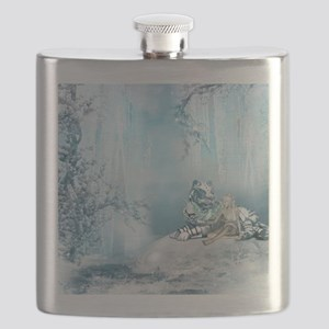 Wonderful snow tiger with fairy and bird Flask