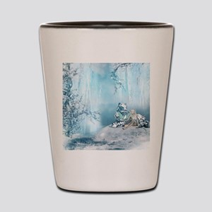 Wonderful snow tiger with fairy and bird Shot Glas