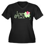 Love & Luck Women's Plus Size V-Neck Dark T-Shirt