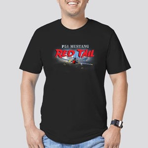 P51 Mustang Red Tail Men's Fitted T-Shirt (dark)
