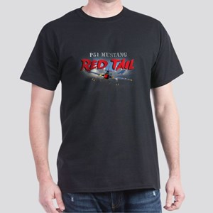 P51 Mustang Red Tail Dark T-Shirt