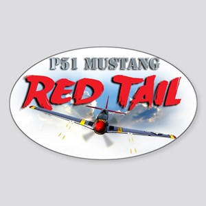P51 Mustang Red Tail Sticker (Oval)
