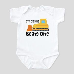 1st Birthday Bulldozer Infant Bodysuit