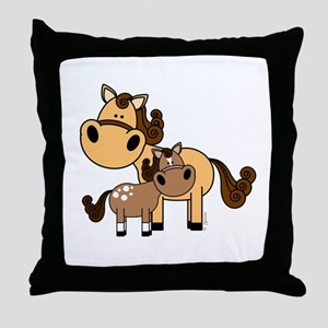 Mama and Baby Horse Throw Pillow