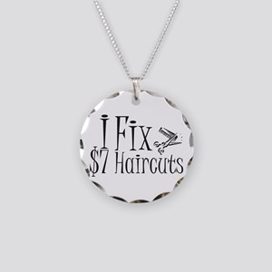 I Fix $7 Haircuts Necklace Circle Charm