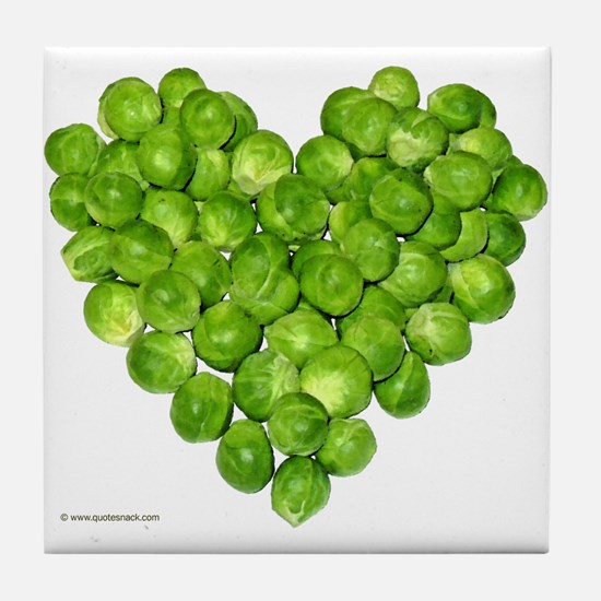 Brussel Sprouts Heart Tile Coaster