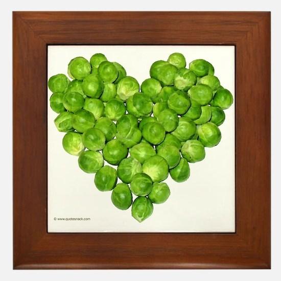 Brussel Sprouts Heart Framed Tile