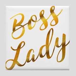Boss Lady sassy quote gold foil Tile Coaster