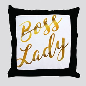 Boss Lady sassy quote gold foil Throw Pillow