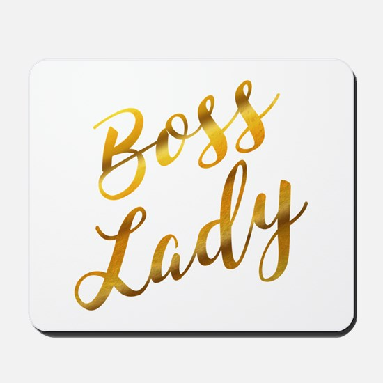 Boss Lady sassy quote gold foil Mousepad