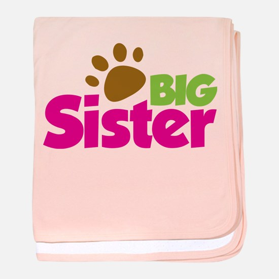 Paw Print Dog Big Sister baby blanket
