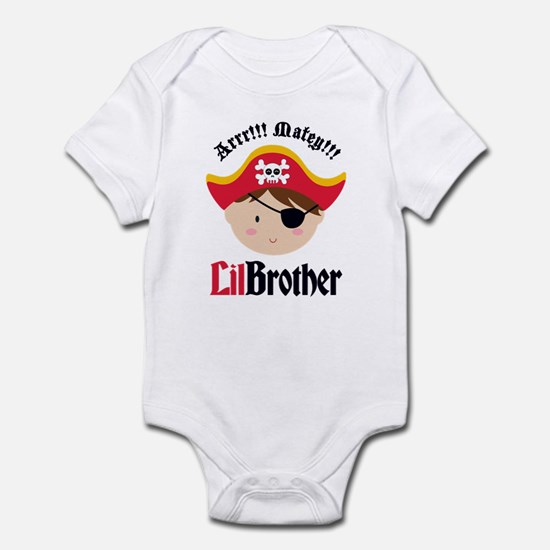 Brown Hair Pirate Little Brother Infant Bodysuit