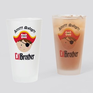 Brown Hair Pirate Little Brother Drinking Glass