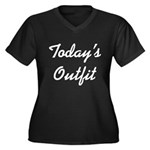 Today's Outfit Women's Plus Size V-Neck Dark T-Shi