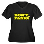Don't Panic Women's Plus Size V-Neck Dark T-Shirt