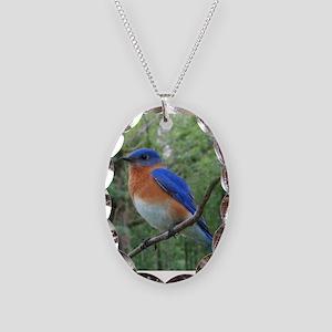 Bluebird Necklace Oval Charm