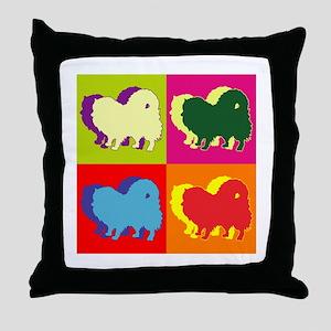 Pomeranian Silhouette Pop Art Throw Pillow