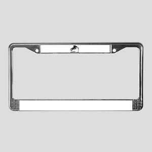 Show Jumper on a dark horse License Plate Frame